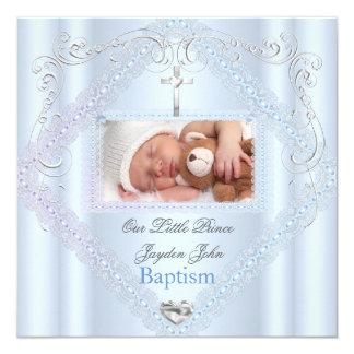 Baptism Baby Boy Blue Christening Cross Prince 2 5.25x5.25 Square Paper Invitation Card