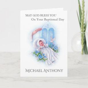 Catholic baptism cards zazzle uk baptism baby boy blue roses cross catholic card m4hsunfo