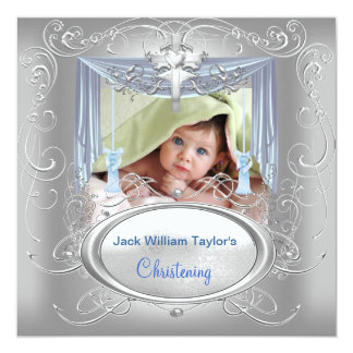 "Baptism Baby Christening Boy Blue Silver Cross 5.25"" Square Invitation Card"