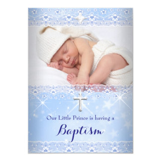 Baptism Baby Photo of Boy Blue Lace 11 Cm X 16 Cm Invitation Card