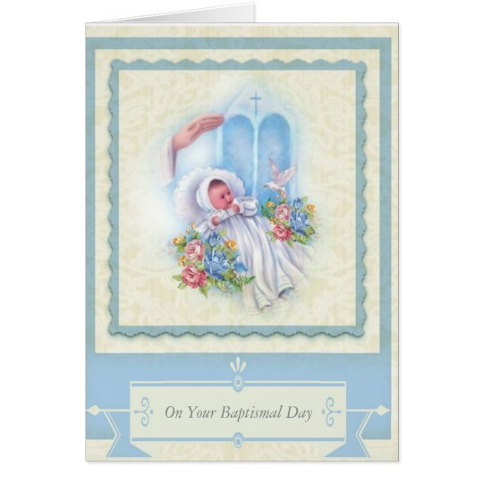 BAPTISM Baby Roses Blessing Card