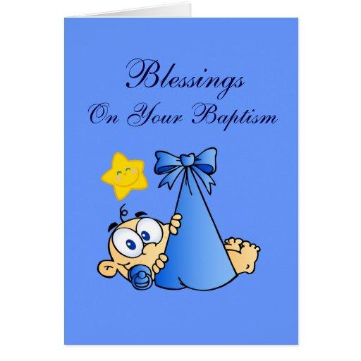 Baptism Blessings Blue Bundle Card