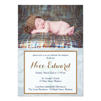 Baptism Blessings Blue Christening Invitation