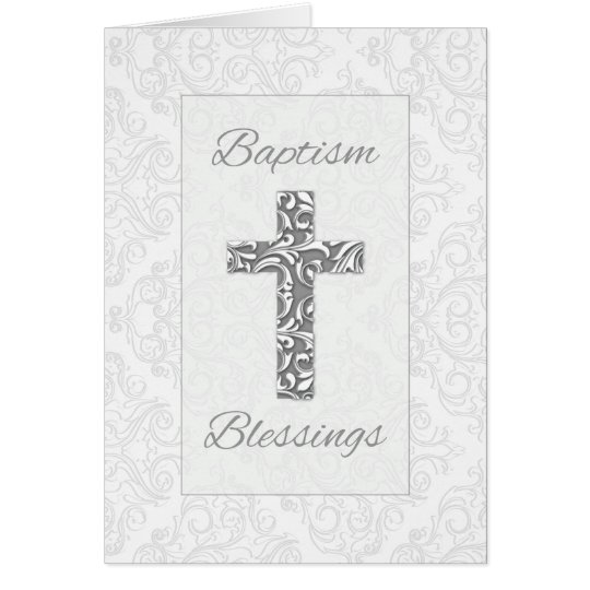 Baptism Blessings, Cross with Damask Swirls, 3D Card