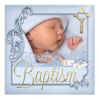 Baptism Blue Cross Boy Christening Photo 13 Cm X 13 Cm Square Invitation Card