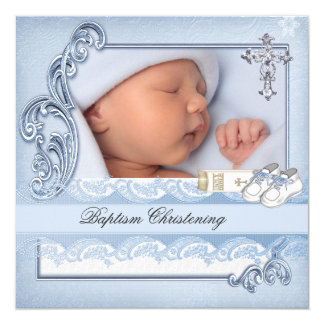 Baptism Blue Cross Boy damask christening 13 Cm X 13 Cm Square Invitation Card