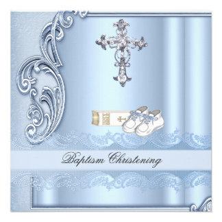 Baptism Blue Cross Boy damask christening Invitation