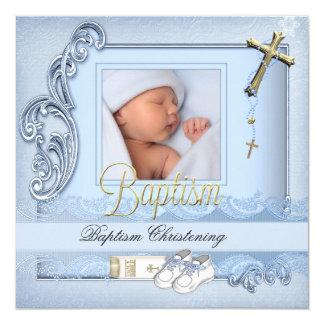 Baptism Blue Gold Cross Boy Christening 13 Cm X 13 Cm Square Invitation Card