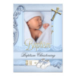 Baptism Blue Gold Cross Boy Christening 2 13 Cm X 18 Cm Invitation Card