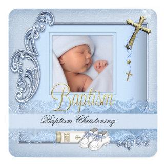 Baptism Blue Gold Cross Boy Christening Card