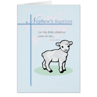 Baptism Blue Nephew Lamb Card