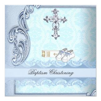 Baptism Blue Teal Cross Boy Damask christening 13 Cm X 13 Cm Square Invitation Card