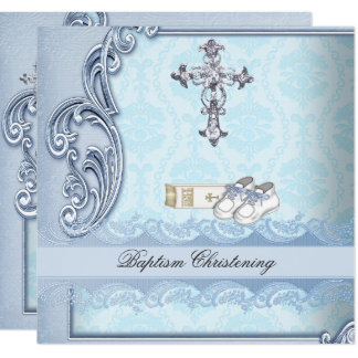 Baptism Blue Teal Cross Boy Damask christening Card