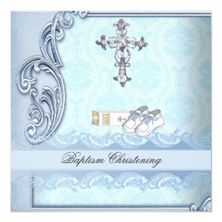Baptism Blue Teal Cross Boy Damask christening 13 Cm X 13 Cm Square Invitation Card