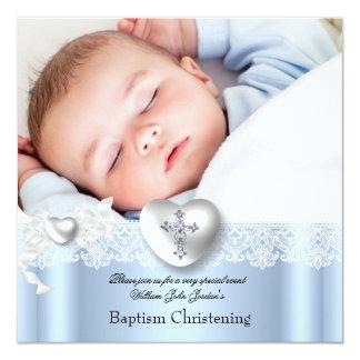 Baptism Blue White Lace Photo Heart Cross Boy 13 Cm X 13 Cm Square Invitation Card