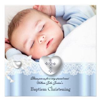 Baptism Blue White Lace Photo Heart Cross Boy Custom Invitations