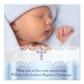 Baptism Blue White Lace Photo Jewel Cross Boy 13 Cm X 13 Cm Square Invitation Card