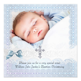 Baptism Blue White Lace Photo Jewel Cross Boy 2 Custom Announcement