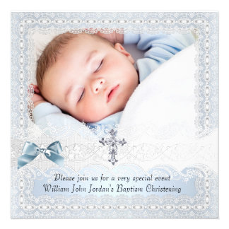 Baptism Blue White Lace Photo Jewel Cross Boy 3 Personalized Announcements