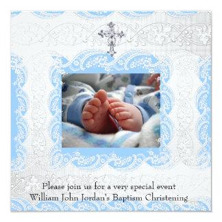 Baptism Blue White Lace Photo Jewel Cross Boy Card
