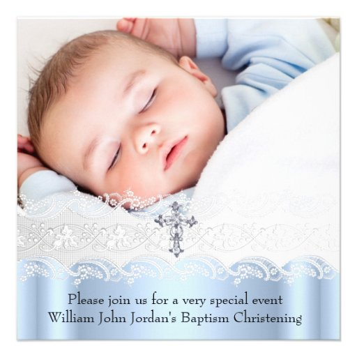 Baptism Blue White Lace Photo Jewel Cross Boy Invites
