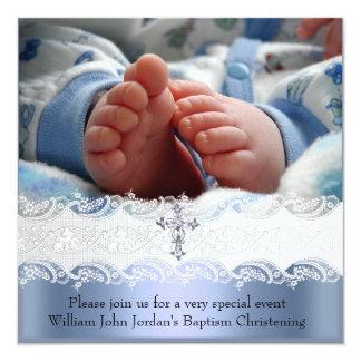 Baptism Blue White Lace Photo Jewel Cross Boy Announcement