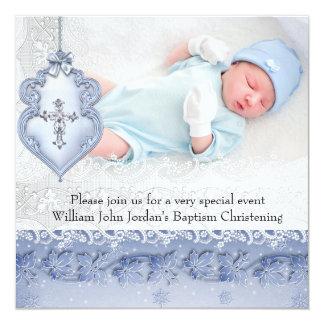 Baptism Blue White Lace Photo Jewel Cross Boy 5.25x5.25 Square Paper Invitation Card
