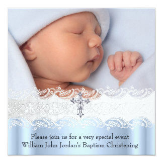 Baptism Blue White Lace Photo Jewel Cross Boy Personalized Invite