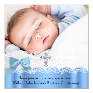 Baptism Boy Blue White Lace Photo Jewel Cross Bow 13 Cm X 13 Cm Square Invitation Card