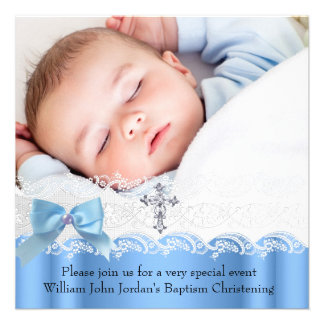 Baptism Boy Blue White Lace Photo Jewel Cross Bow Announcements