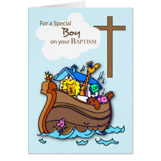 Baptism Boy Noah's Ark, Cute Animals Greeting Card