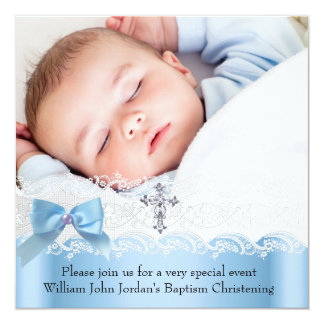 Baptism Boy Photo Blue White Lace  Jewel Cross 2 Card
