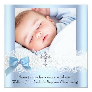 Baptism Boy Photo Blue White Lace Jewel Cross 3 13 Cm X 13 Cm Square Invitation Card
