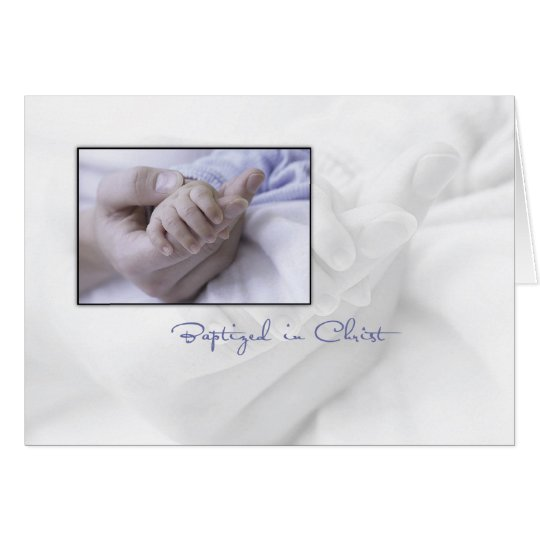 Baptism, Boy with Baby Hands in Blue Card