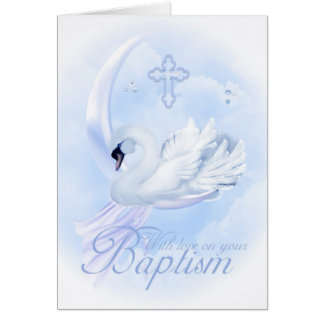 Baptism Card With Blue Swan