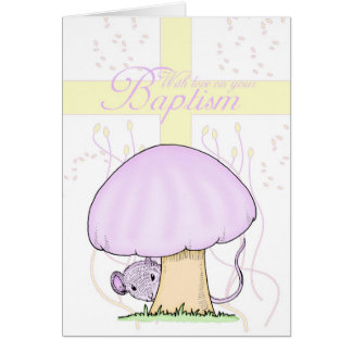 Baptism Card With Cross And Mouse