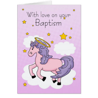 Baptism Card With Pink Horse