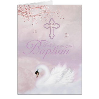 Baptism Card With Pink Swan