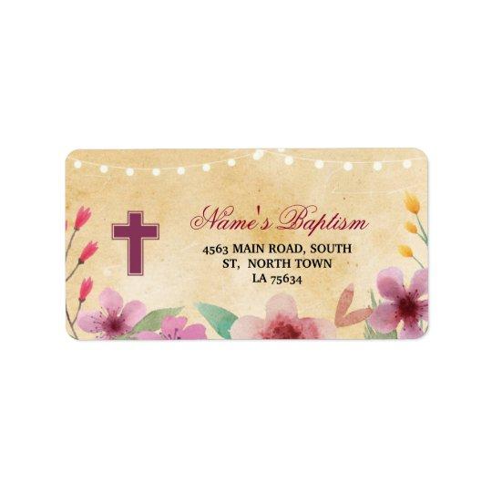 Baptism Christening Address Labels Cross Stickers