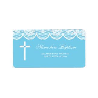 Baptism Christening Address Labels Cross Stickers