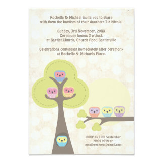 "Baptism Christening Ceremony Cute Owls Invitation 5"" X 7"" Invitation Card"