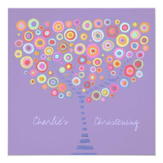 "Baptism Christening Circle Tree Retro Invitation 5.25"" Square Invitation Card"