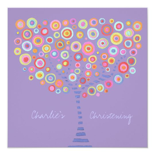 Baptism Christening Circle Tree Retro Invitation