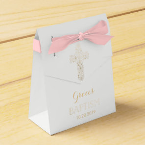 Baptism, Christening Favour Box - Girl, Gold Cross