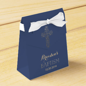 Baptism, Christening Favour Box - Gold Cross