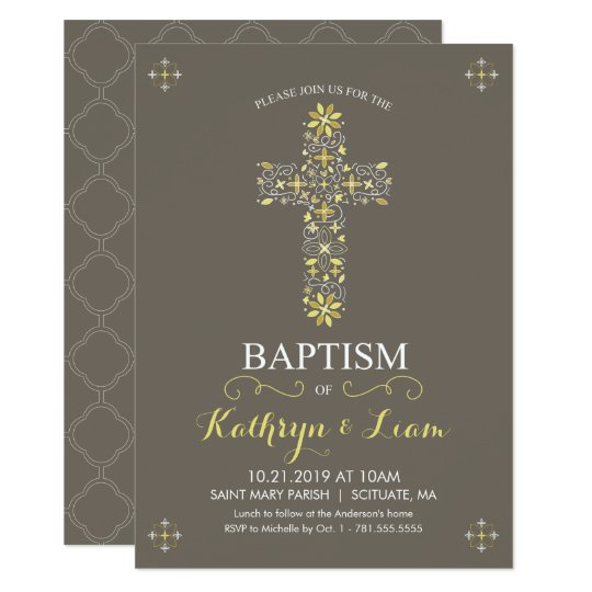 Baptism, Christening Invitatio, Girl and or Boy Card