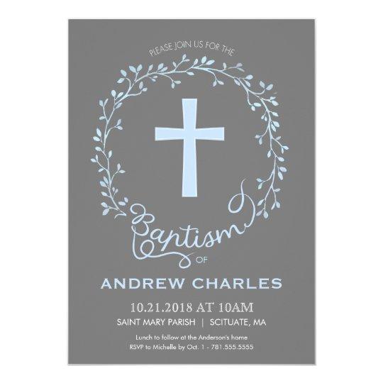 Baptism Christening Invitation Baby Boy Invite Zazzle