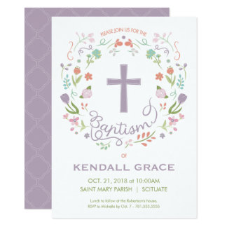 Baptism, Christening Invitation for Girl - Custom
