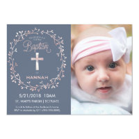 Christening invitations announcements zazzle baptism christening photo invitation baby girl stopboris Image collections