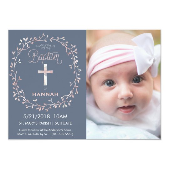 Baptism christening photo invitation baby girl zazzle baptism christening photo invitation baby girl stopboris Gallery